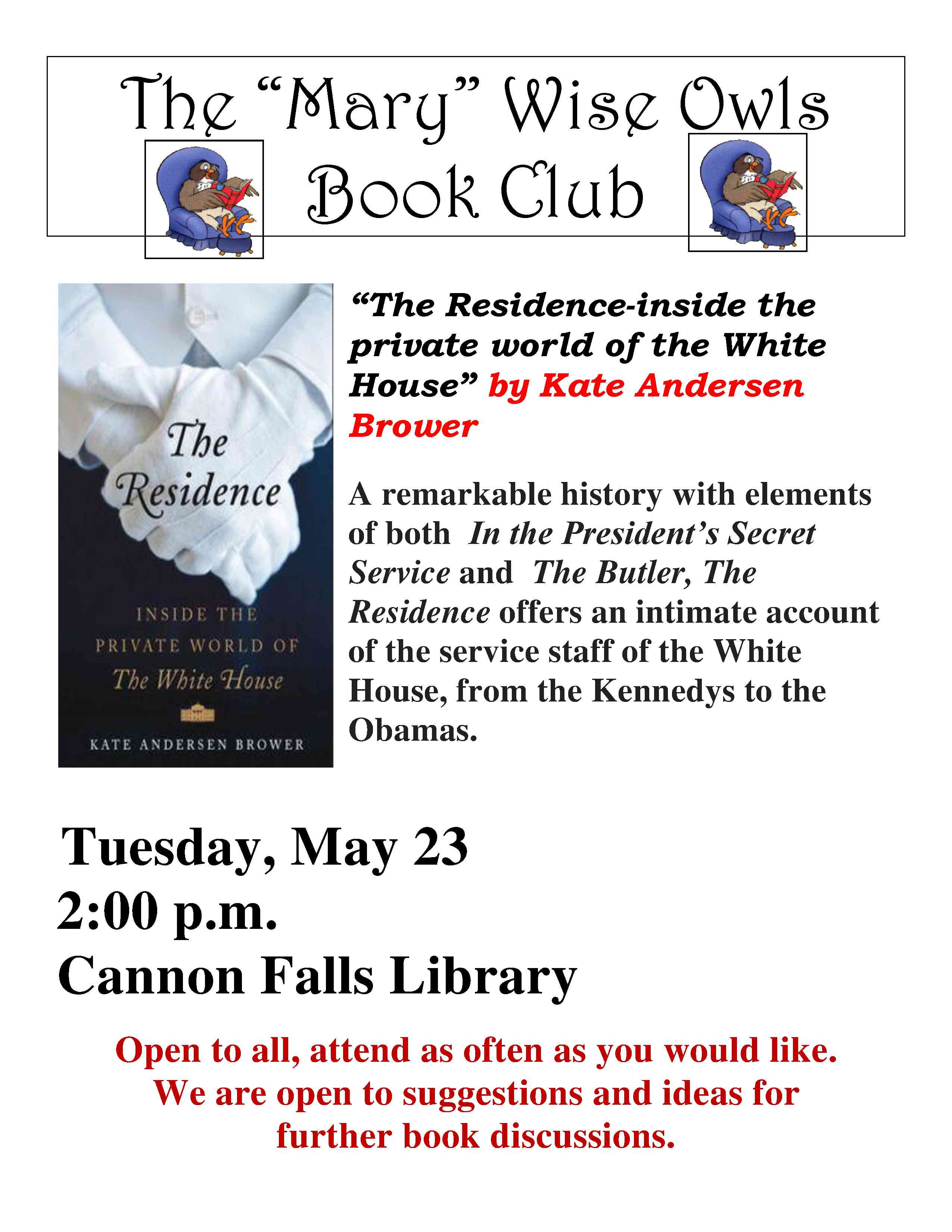 Book Club It Open To All, Attend As Often As You Would Like